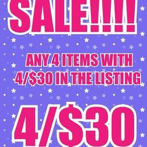 4/$30 SALE!!!